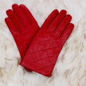 Quilted Red Leather Gloves